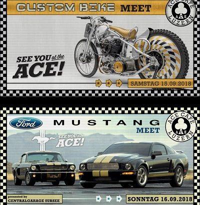 Ford Mustang Custom Bike Meeting wir sind dabei. Trefft uns dort und findet ganz neue Kleider und Accessoires von Sullen Clothing und Yakuza Schweiz.